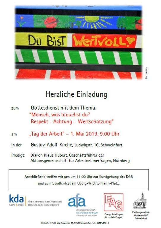 Flyer für den 1. Maigottesdienst in Schweinfurt.