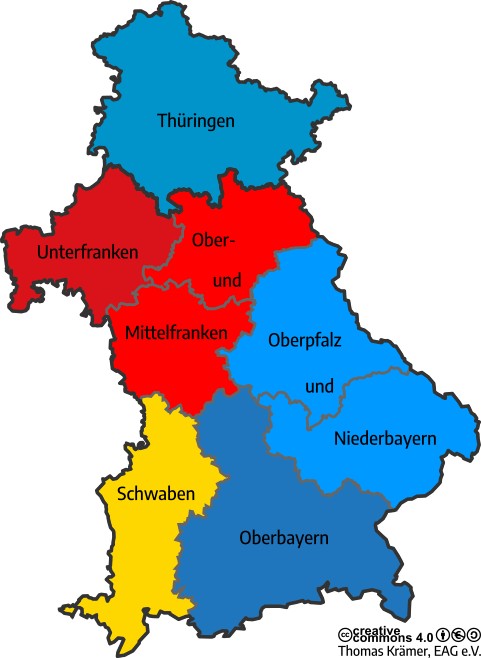 Grafische Darstellung der Bezirke der Evangelische Arbeitsgemeinschaft für Soziale Fragen in Bayern und Thüringen e. V. als Landkarte.